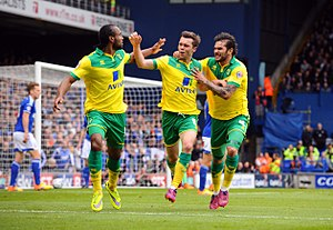Jonny Howson - Howson celebrating his goal against rivals Ipswich Town in the first leg of the play-off semi-finals