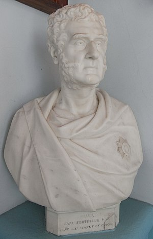 "Hugh Fortescue, 2nd Earl Fortescue - ""Hugh, Earl Fortescue KG, Lord Lieutenant of Devon"". Wearing Garter Star. Marble bust by Edward Bowring Stephens, 1861; Memorial Hall, West Buckland School, Devon"
