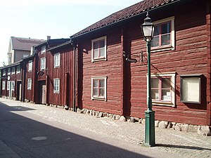Linköping - Hunnebergsgatan: an old street with preserved older buildings.