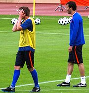 Huntelaar (left) with Ruud van Nistelrooy.