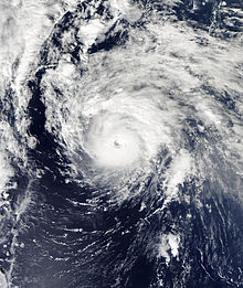 A satellite image depicting a well-developed hurricane with a clear eye visible