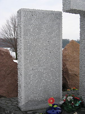 14th Waffen Grenadier Division of the SS (1st Galician) - One of the stone tablets of the monument which lists the names of Poles killed at Huta Pienacka