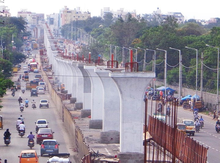 Le métro d'Hyderabad, lors de sa construction