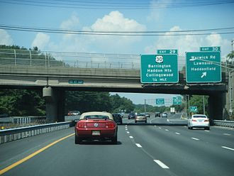 Interstate 295 (Delaware–New Jersey) - I-295 southbound at Warwick Road in Lawnside