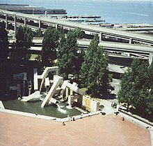 Aerial photo of Vaillancourt Fountain