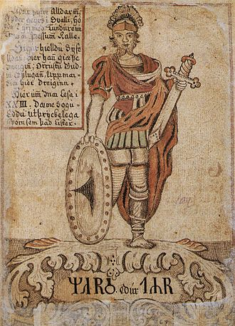 Týr - Týr, depicted here with both hands intact, before the encounter with Fenrir is identified with Mars in this illustration from an 18th-century Icelandic manuscript.