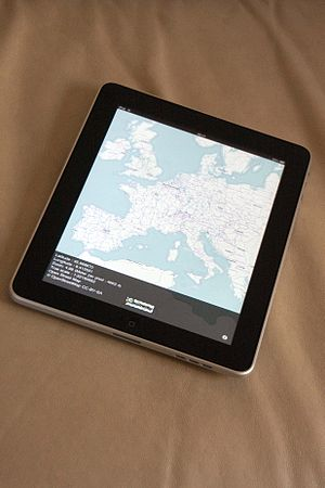iPad showing OpenStreetMap content