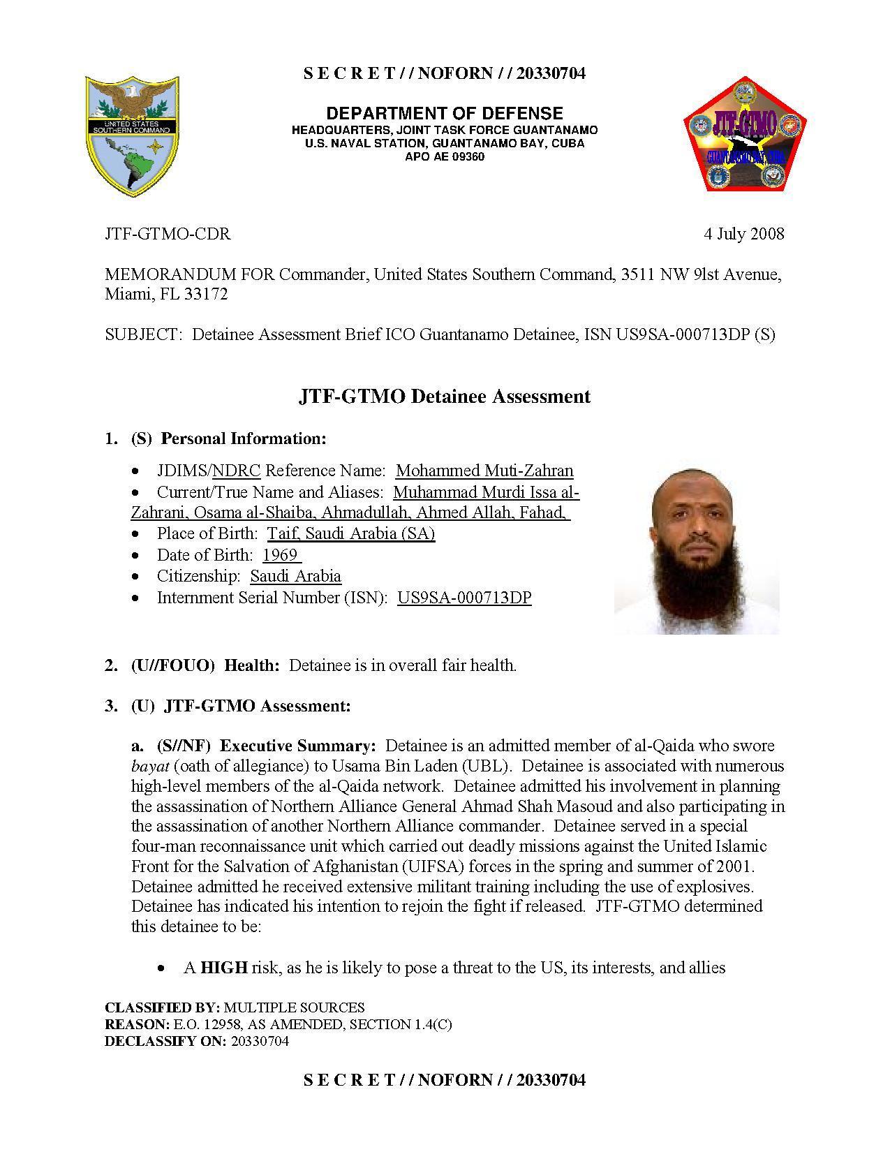 ISN 00713, Mohammed Muti-Zahran's Guantanamo detainee assessment.pdf