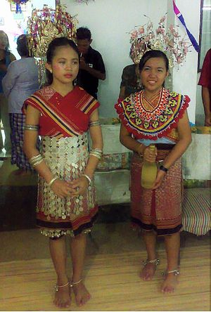 Demographics of Sarawak - Iban girls dressed in full Iban (women) attire during Gawai festivals in Debak, Betong region, Sarawak