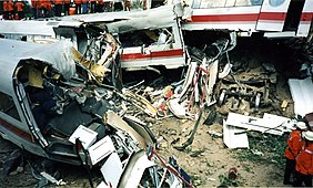 The destruction of the rear passenger cars