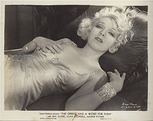 Ina Claire - Ina Claire in a pre-code publicity still for The Greeks Had a Word for Them (1932), lying in her nightgown in a seductive pose, which provoked outrage from civic and religious leaders.