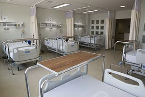 Hospital bed - Hospital beds at the Hospital Regional de Apatzingán in Apatzingán, Michoacán, Mexico.