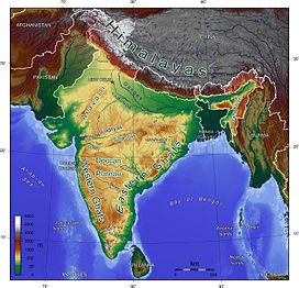 Topographic map of India showing the range