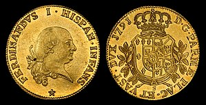 Kingdom of the Two Sicilies - Ferdinand I of the Two Sicilies (aka Ferdinand III of Sicily and Ferdinand IV of Naples) depicted on a Duchy of Parma, 8 Doppie (1791) gold coin