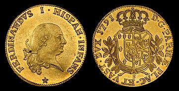 Ferdinand I King of the Two Sicilies depicted on a Duchy of Parma 8 Doppie coin (1791)