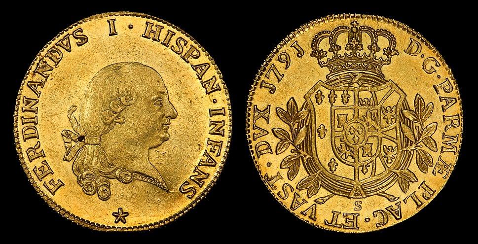 Infante Ferdinand of Parma 1791-S 8 Doppie