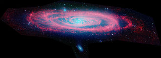 Andromeda Galaxy - The Andromeda Galaxy seen in infrared by the Spitzer Space Telescope, one of NASA's four Great Space Observatories.