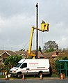 Installing a new phone pole in Stockton village centre - geograph.org.uk - 1587059.jpg