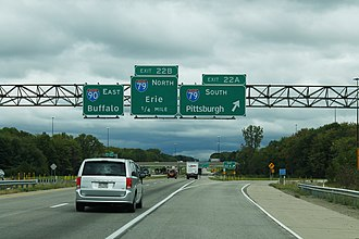 Interstate 90 in Pennsylvania - I-90 eastbound at the I-79 interchange in McKean Township