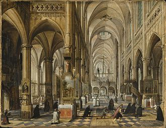 Architectural painting - Paul Vredeman de Vries, 1612, Interior of a Gothic Cathedral, now in the Los Angeles County Museum of Art
