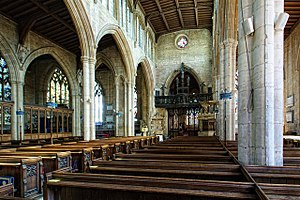 St Denys' Church, Sleaford - The nave of St Denys', looking eastwards towards the chancel