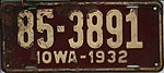 Iowa 1932 license plate - Number 85-3891.jpg