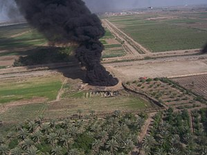 Oil well fire - An oil well on fire in Iraq