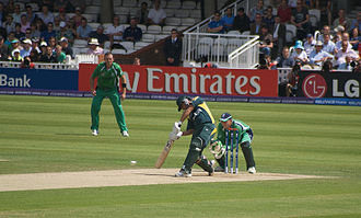 Ireland cricket team - Ireland playing against Pakistan at the Kennington Oval during the 2009 T20 World Cup. Niall O'Brien is keeping wicket whilst and Trent Johnston is the fielder.