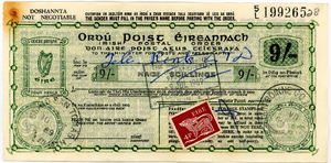 Postal order - Irish 9 shilling postal order with additional stamp used in 1969. Used postal orders are seldom seen because most were destroyed when they were redeemed or cashed at the post office or bank.