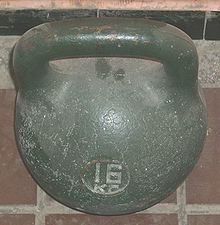 A one-pood (16 kg or 36.11 lb) kettlebell