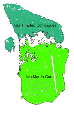 Diagram of Martín García and Timoteo Domínguez Islands, before they were physically united in one land mass.