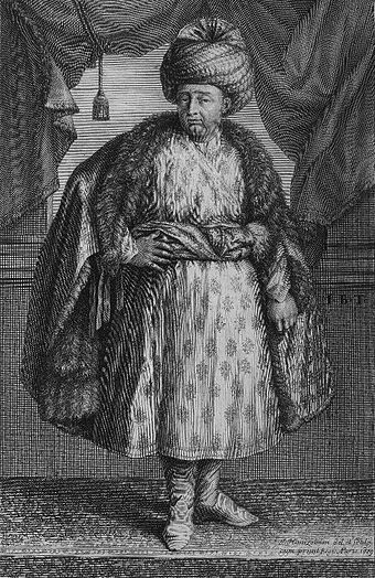 Portrait of Jean-Baptiste Tavernier, as a traveller wearing a Mughal dress, from his Les Six Voyages, published in 1679 JB-Tavernier.jpg