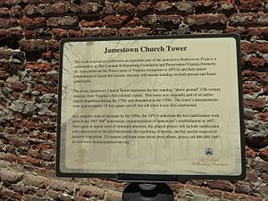 Jamestown Church - Sign at the church, 2014