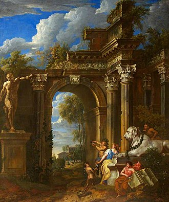 Jan-Erasmus Quellinus - A ruined classical archway, a collaboration with Jan Baptist Huysmans