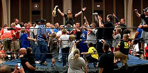 "Jason Kincaid - Jason ""The Gift"" Kincaid celebrates with fans after winning the NWA World Junior Heavyweight Championship."