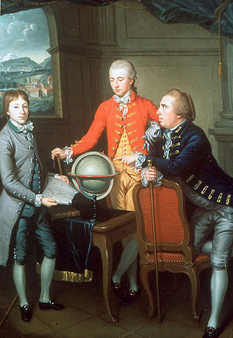 Grand Tour - Portrait of Douglas, 8th Duke of Hamilton, on his Grand Tour with his physician Dr. John Moore and the latter's son John. A view of Geneva is in the distance where they stayed for two years. Painted by Jean Preudhomme in 1774.