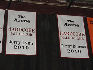 Jerry Lynn - Lynn's Hardcore Hall of Fame banner in the former ECW Arena.