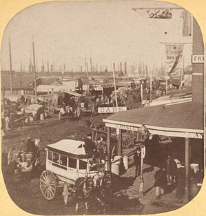 Cortlandt Street Ferry Depot - Image: Jersey City Ferry, foot of Courtlandt Street, North River, from Robert N. Dennis collection of stereoscopic views