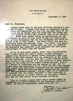 Jerald terHorst - TerHorst's letter of resignation