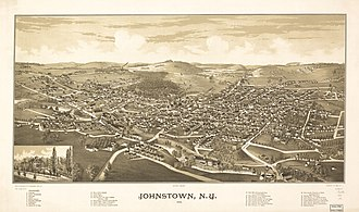 Johnstown (city), New York - Perspective map of Johnstown from 1888 by L.R. Burleigh with list of landmarks