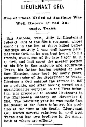 Jules Garesche Ord - Obiturary of Lt. Jules G. Ord from Galveston Daily News, Galveston, Texas July 4, 1898.