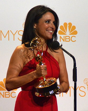Louis-Dreyfus after receiving her third Primetime Emmy Award for Outstanding Lead Actress in a Comedy Series for Veep in August 2014 Julia Louis-Dreyfus 66th Emmy Awards (cropped).jpg