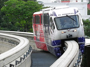 Bukit Nanas Monorail station - KL Monorail approaching Bukit Nanas Station