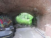 A barrel-vaulted brown brick tunnel approximately 10 metres long & 5 metres wide leads to a lush green clearing. The tunnel has graffiti & is being used to store large black bins.