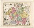 Kaart van Duitsland Germania in decem circulos divisa. Mappa geographica nova (..) (titel op object), RP-P-2018-1065.jpg
