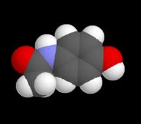 Modelo tridimensional de la molécula de paracetamol: negro - carbono; blanco - hidrógeno; rojo - oxígeno; azul - nitrógeno