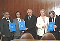 Kapil Sibal and the German Federal Minister for Education and Research, Dr. Annette Schavan at the signing ceremony of an MoU for cooperation in science and technology, in New Delhi on October 30, 2007.jpg