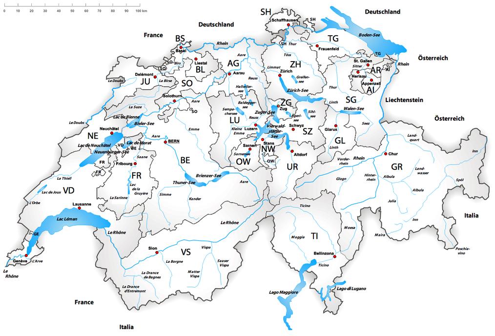 Cartina Della Svizzera Francese.Laghi E Dighe Della Svizzera Wikipedia