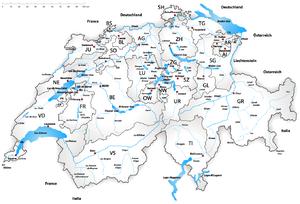 Χάρτης της Ελβετίας. Αναγράφονται τα καντόνια, οι κυριότεροι ποταμοί και οι λίμνες.
