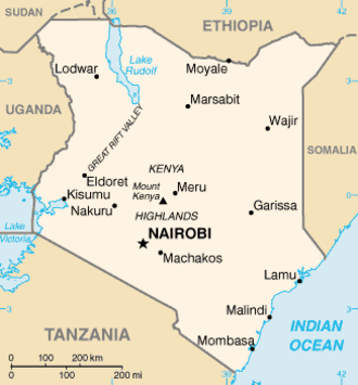 Mau Mau Uprising - Map of Kenya